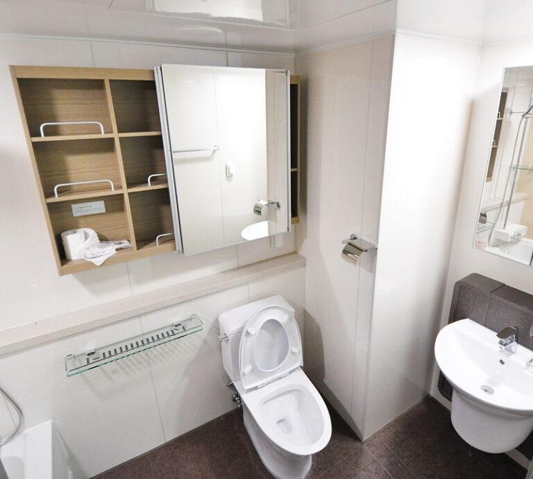Modern bathroom with white and chrome fixtures