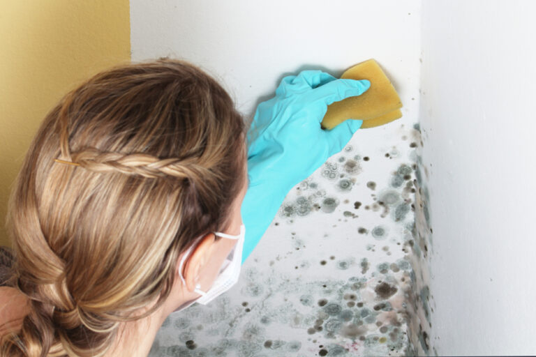woman-wearing-mask-cleaning-mold-from-white-wall
